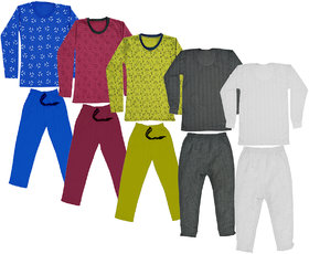 IndiWeaves Girls Winter wear Thermal Set and Fleece Warm T-Shirt and Lower (Set of 5)