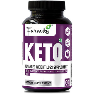 Farmity Keto Advanced Weight Loss Supplement (With CLA 60)  Sustains Energy  Boost Metabolism 800mg  60 Capsules