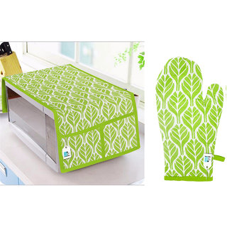 DECOTREE Combo Set of Cotton Microwave Oven Top Cover with 4 Pockets and 1 Pc Cotton Microwave Oven Gloves (Green, 2 Pcs Set)