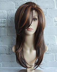 Sellers Destination  Long Layered Straight Synthetic Hair Wig for Women (size 24,Black Brown)