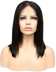 Sellers Destination  Bob Layered Human Hair Wig for Women with Heat Resistant(size 14,Black)
