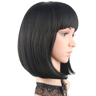 Sellers Destination  Synthetic Short Hair Bob Wigs Straight With Flat Bangs Cosplay Wigs For Women Natural As Real Hair(size 14,Black)