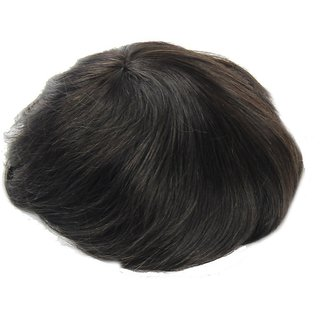 Sellers Destination  Wig for Covering Bald Area Straight Human Hair Monofilament Regular Men's Hair Patch (Black, 8x6)