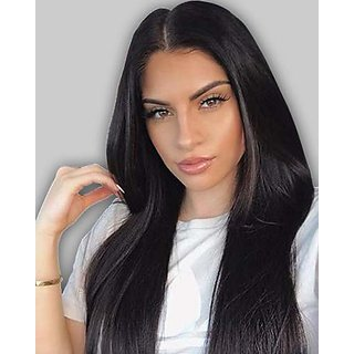 Sellers Destination Frontal Wig Natural Straight looking human hair wig for Women(size 30,Black)