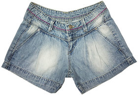 Carmino Casual Girls Denim Shorts with Spray Washed