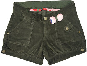 Girls green corduroy shorts  styled with pink printed bow at the waist