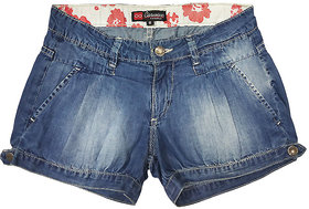 Carmino Casual Girls Denim Shorts with pp Spray and Printed Waist Band