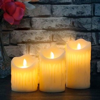 Eastern Club Flameless Flickering LED Electronic Candle Light for Home Decoration and Diwali (3 Candles in 3 Sizes)