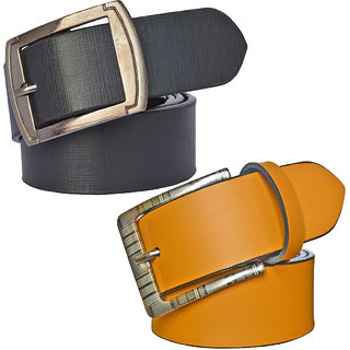 Sunshopping Men's Black And Tan Synthetic Leather Belt (Combo) (Synthetic leather/Rexine)