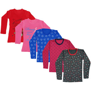 IndiWeaves Girls Fleece Warm Printed Sweatshirt and Cotton Printed T-Shirts for Winters (Pack of 5)