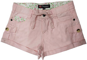 Carmino Casual Ladies Denim Tencil Overdyed Pink Shorts