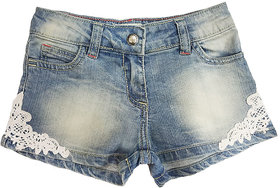 Blue denim shorts with pp spray and bottom styled with beautiful embroidered patch