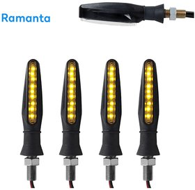 Ramanta 4x New 9 SMD Amber Turn Signal Side Indicator Light Universal Front Rear Blinker Lamp Set for Universal All Bike Models