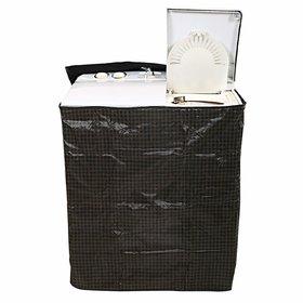CASA-NEST Checkered PVC Top Load Semi Automatic Washing Machine Cover - Brown