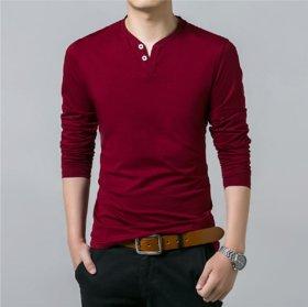 Men Maroon Henley Collar T-Shirt