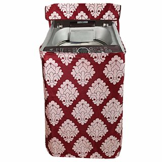 CASA-NEST Floral Design Cotton Top Load Fully Automatic Washing Machine Cover - Maroon