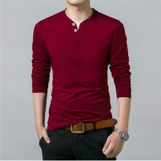 Attitude Jeans Maroon Cotton Plain Henley Casual T-Shirt