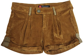 Girls brown corduroy shorts folded at the hem