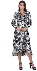 Selfys  Women Poly Crep  Zebra Print Dress (Small)