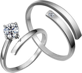 SILVERSHINE Silverplated Amazing Solitaire His and Her Adjustable proposal couple ring For Men And Women Jewellery