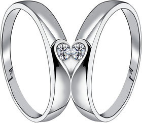 SILVERSHINE Silverplated Half Heart In Solitaire His and Her Adjustable proposal couple ring For Men And Women Jewellery