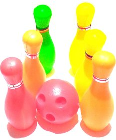 .Nawani Toys Bowling Game Set (6 Bottles  1 Balls) (Multi Color) Size -6/2 inch, ,Ball Diameter 3 inches