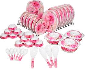 TinTin Dinner Set of 41 Pcs Melamine (White  Pink) (R-010)