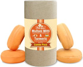 Florous Multani Mitti Soap + Turmeric Soap Combo ( 4 x 100 GM )