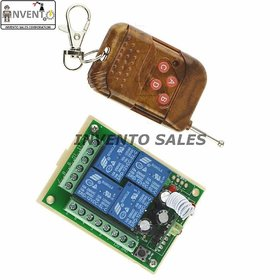 INVENTO 433MHz DC 12V 4 CH Channel Wireless RF 4 Relay Remote Control Switch Receiver