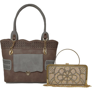 RISH Combo of Handbag and Clutch for Women - Brown, Grey  Gold