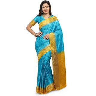 Yadu Nandan Fashion Turquoise Blue Colour Banarasi Art Silk Party Wear Saree With Unstitched Blouse Piece (28484)