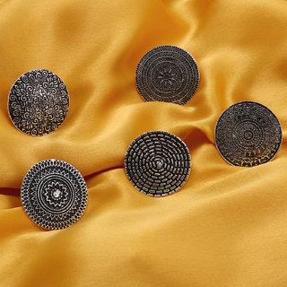 Sukkhi Ravishing Floral Oxidised Plated Ring for Women