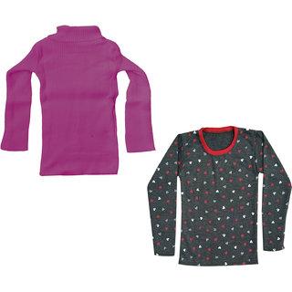 IndiWeaves Girls Fleece Warm Sweatshirt Top and Woollen High Neck Skivvy Sweater for Winters (Pack of 2)
