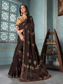 Sutram Printed Coffee Georgette Silk Saree with Blouse Piece
