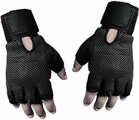 Liboni Full Net Gym Gloves/Cycling Gloves/Riding Gloves/Stretchable Size for Both Men and Women, Black Colour