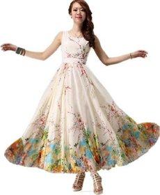 Saadhvi Women's White Georgette Digital Print Stitched Dress