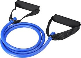 Liboni Blue Toning Tube with Foam Handles, Stretchable Pull Rope Rubber Exerciser for Workout for Men  Women
