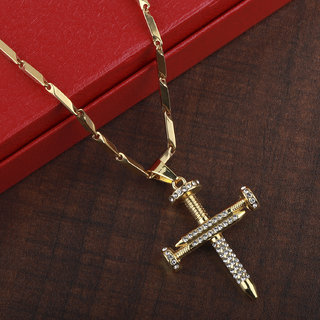 SILVERSHINE SilverPlated Adorable Chain With Cross pendant With Diamond Studded For Men and boy Jewellery