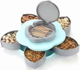 Martand 5Compartments Flower Candy Box Serving Rotating Tray Dry Fruit Candy, Chocolate, Snacks Storage Box, Masala Box