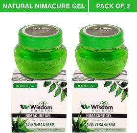Wisdom Natural Acne, Scars, Pigmentation and blackheads multipurpose Aloevera  Neem gel, 100 gm - Pack of 2