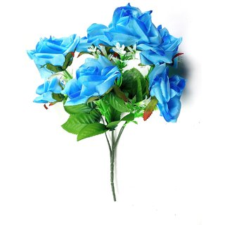 ALRAZA Blue Rose Artificial Flowers for Decoration  15 inch Pack of 1