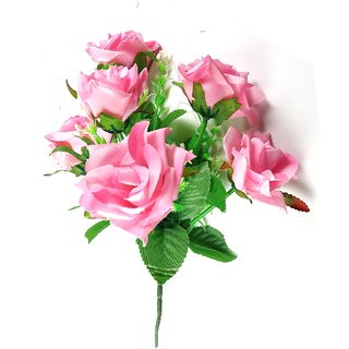 ALRAZA Pink Rose Artificial Flowers for Decoration  15 inch Pack of 1