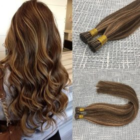 Sellers Destination Highlighted Prebonded Hair Extensions Chocolate Brown mixed Honey Blonde Ombre I tip Remy Stick Hair Extension 50 Strands.