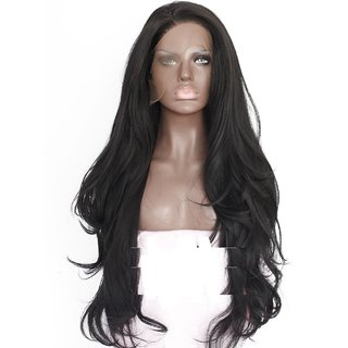 BUYERS CHAIN  Lace Front Synthetic hair Wig for Women Natural Wave Long Wigs Heat Resistant Fiber Hair Black ,22 Inches.