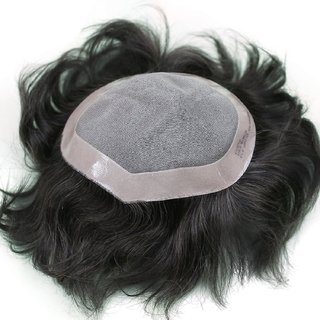 BUYERS CHAIN Black Brown Human Hiar Toupee Men's Hair Patch with Tape or Glue (8x6-inch).