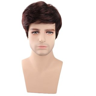 BUYERS CHAIN Men's Short Brown Synthetic Hair Wig (Size-6)