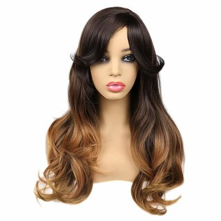 BUYERS CHAIN Synthetic Wigs With Bangs 3 Tone Ombre Wig Brown to Blonde Natrual Wave Heat Resistant Wig High Density Long Hair Full Wigs for Women(size 24,Blonde,Brown)