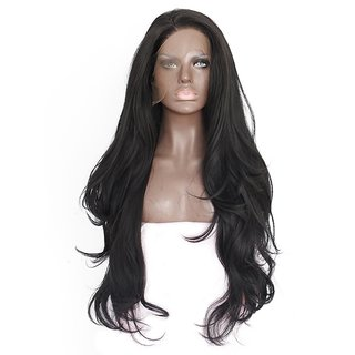 BUYERS CHAIN Synthetic Wig, Women Wig Long Wavy Natural Lace Front Wig for Party(size 30 Black)