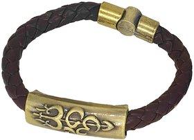Men Style Om Shiva Trishula Damaru Charm ID Brown Gold  Leather Stainless Steel  Bracelet
