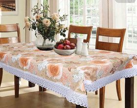 CASA-NEST PVC 6 Seater Dining Table Cover (Brown) 60 x 90 Inches